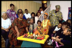 African American extended family celebrate Kwanzaa in Chicago.